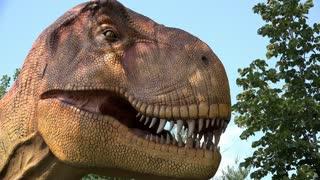 Tyrannosaurus Rex animatronics at theme park 4k