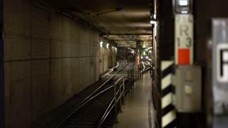 U-Bahn entering underground railway station in Frankfurt 4k