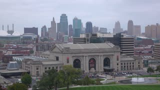 Union Station with Kansas City in background 4k