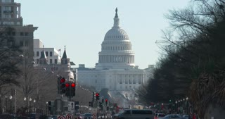 United States Capitol Building seen in the distance from intersection 4k