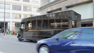 UPS delivery truck in Frankfurt Germany.