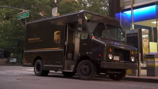 UPS delivery truck stopped on city streets of New York 4k