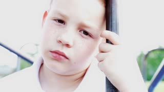 Upset Young Child looking at camera
