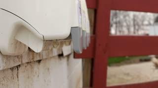 Using hand sanitizer at Farm