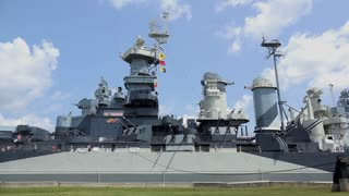 USS North Carolina battleship on sunny day 4k