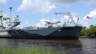 USS North Carolina docked in Wilmington shore 4k