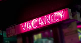 Vacancy Sign at Hotel in city 4k.