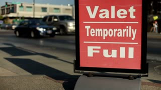 Valet Parking Temporarily full sign by road