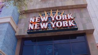 1New York New York Hotel and Casino exterior flashing sign 4k