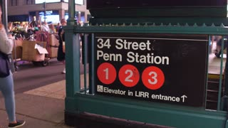 34th Street Penn Station entrance in NYC 4k