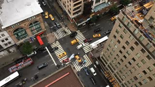 Aerial slow motion view of New York traffic 720p