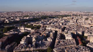 Aerial view of buildings in downtown Paris France 4k