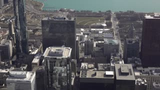 Aerial view of downtown Lake Shore Drive Chicago 4k