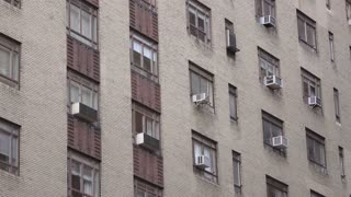 Air conditioner unit on side of industrial building Stock Video ...