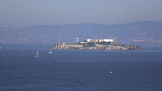Alcatraz Island seen from San Francisco shore 4k