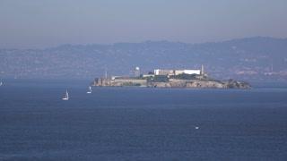Alcatraz Island seen from San Francisco shore 4k