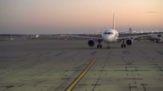 Allegiant Plane preparing for flight on tarmac of Cincinnati airport 4k