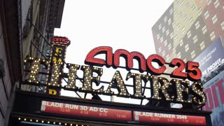 AMC Theaters exterior lighting in downtown New York City 4k