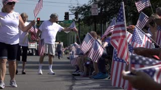 American flags along 4th of July parade route Fairborn Ohio 4k