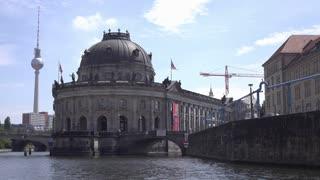 Approaching Bode Museum in Berlin Germany 4k