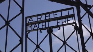 Arbeit Macht Frei entrance at Dachau Camp 4k