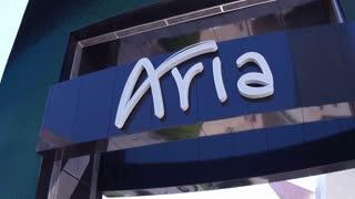 Aria billboard on strip of Las Vegas 4k