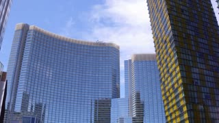 Aria Hotel and Casino exterior building in downtown Las Vegas 4k
