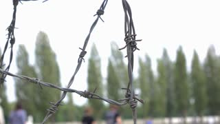 Barbwire fence protecting prison grounds 4k