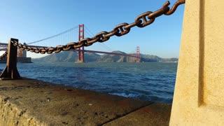 Beautiful Golden Gate Bridge reveal shot