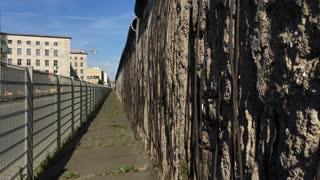 Berlin wall remains along street downtown