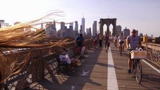 Bike riders and pedestrians on Brooklyn Bridge