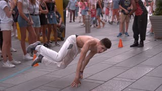 Breakdancer street performance in Times Square slow motion
