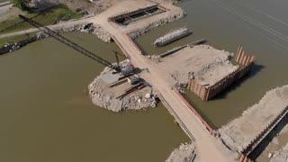Bridge construction site aerial view