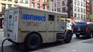 Brinks security truck in downtown Manhattan NYC 4k