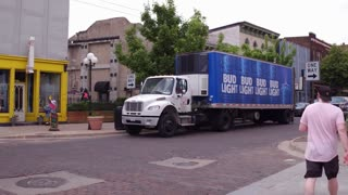 Bud light truck doing delivery downtown Dayton Ohio 4k