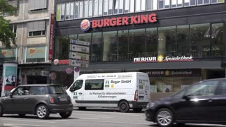 Burger King restaurant in downtown Munich Germany 4k