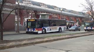 Bus at metro stop in downtown St Louis Missouri 4k