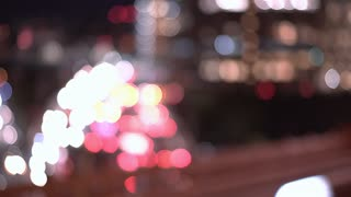 Busy city light background focus blur 4k