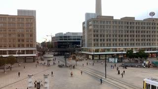 Busy city square of Alexanderplatz Berlin