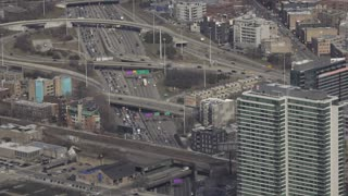 Busy highway traffic in downtown Chicago 4k