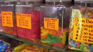 Candies by weight sold at small shop in the USA 4k