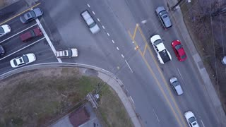 Cars at intersection aerial view 4k
