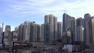 Chicago city buildings in middle of downtown 4k
