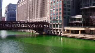 Chicago river dyed green for Saint Patricks Day 4k