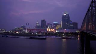 Cincinnati Reds stadium exterior evening shot from Kentucky