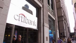 Citibank in downtown Manhattan establishing shot