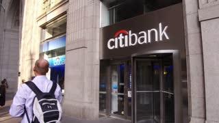 Citibank location in downtown Manhattan establishing shot