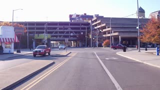 City car view driving through downtown Dayton Ohio 4k