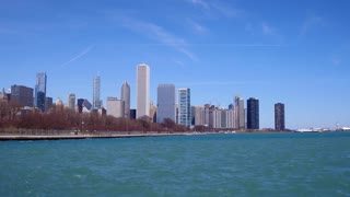 City of Chicago seen from Lake Michigan 4k