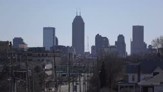 City of Indianapolis establishing shot in distance 4k